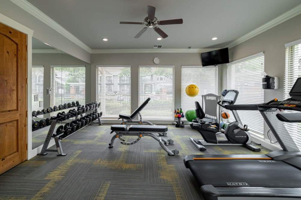 Fully equipped fitness center at Marquis at Lantana in Flower Mound, Texas