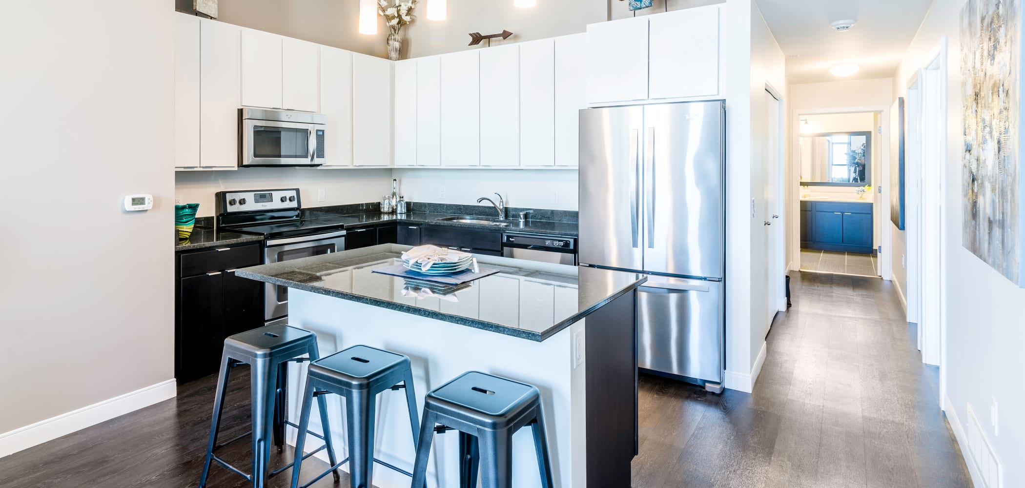 Kitchen with stainless steel appliances at The Buckler in Milwaukee, Wisconsin