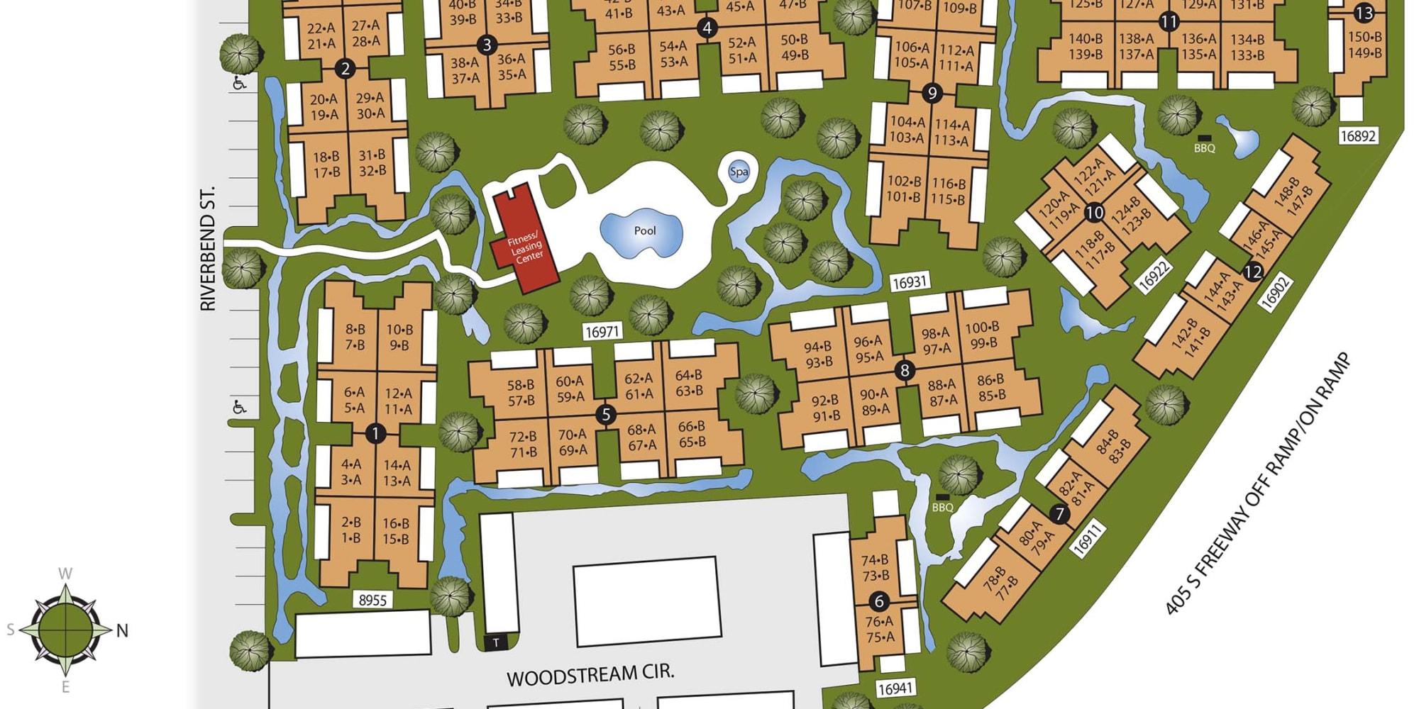 Site plan for Sendero Huntington Beach in Huntington Beach, California