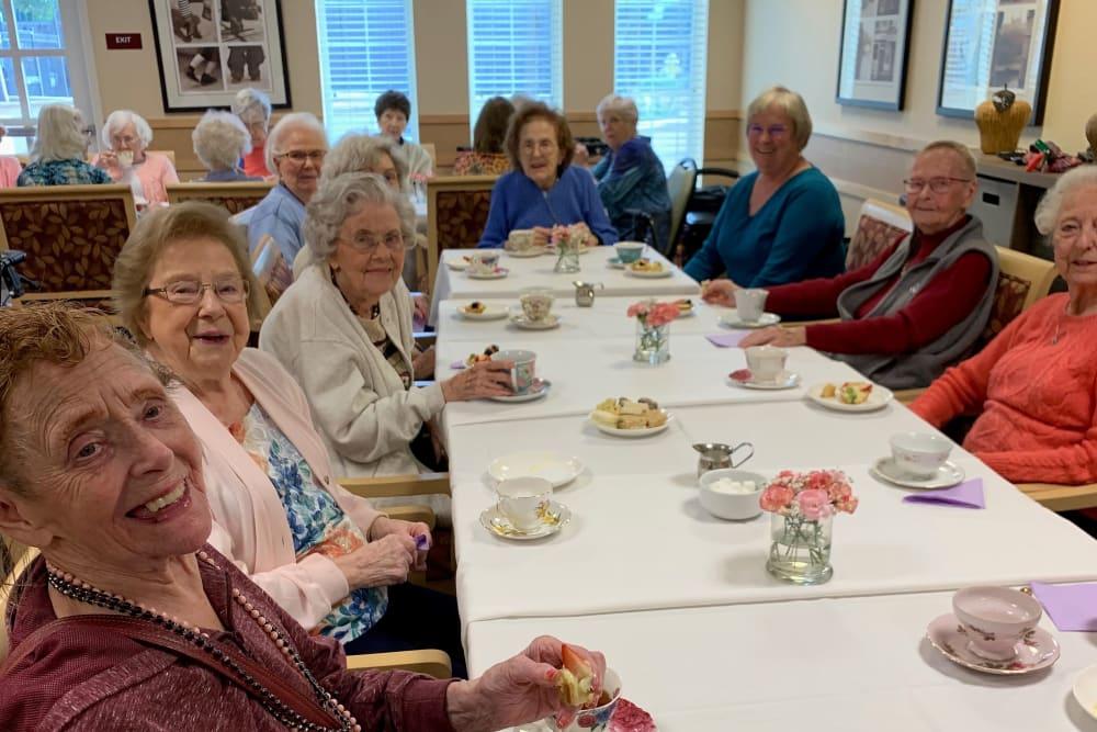 Resident friends enjoying tea at Merrill Gardens at Willow Glen in San Jose, California.
