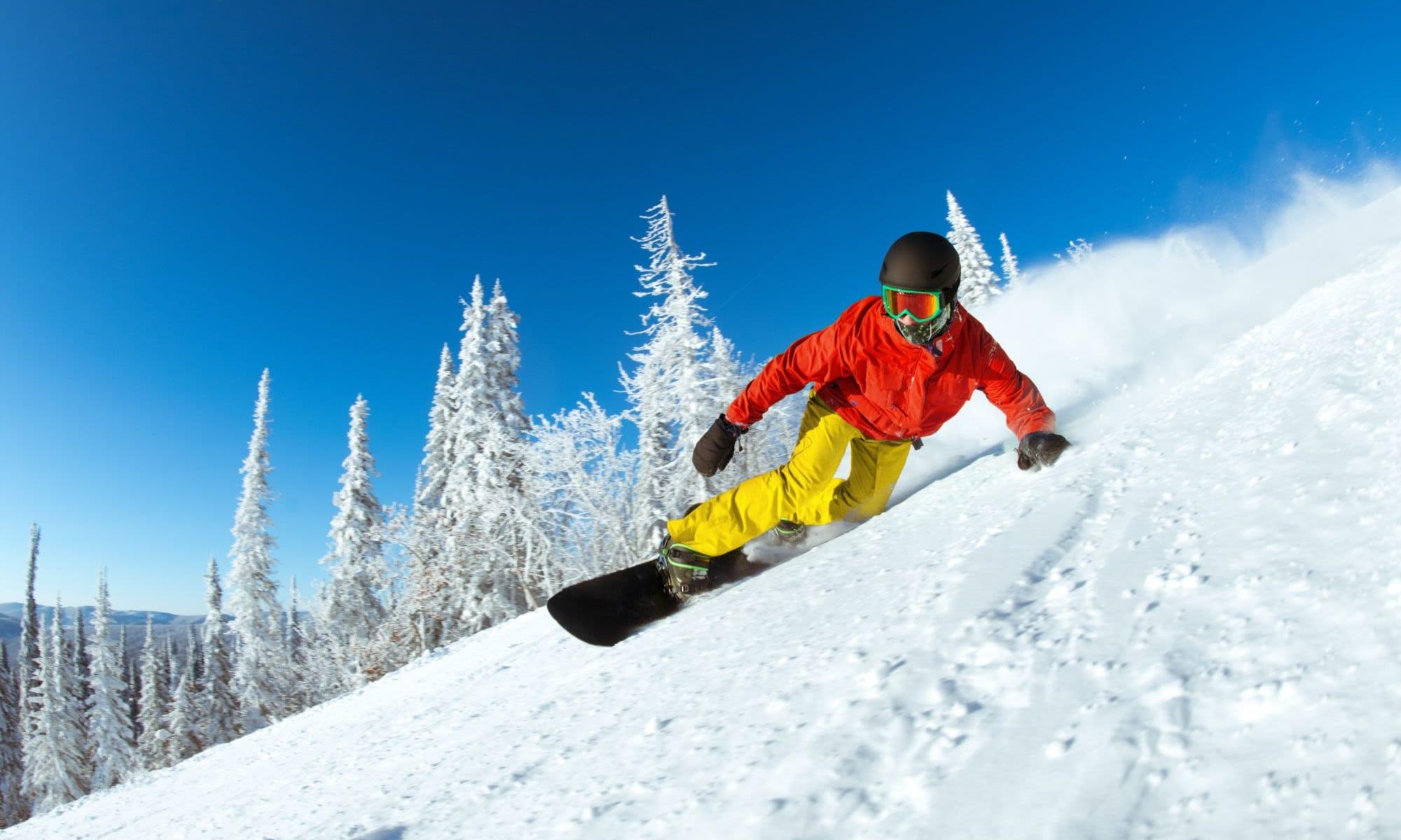 Awesome snowboarding on the mountain near Liberty SKY in Salt Lake City, Utah