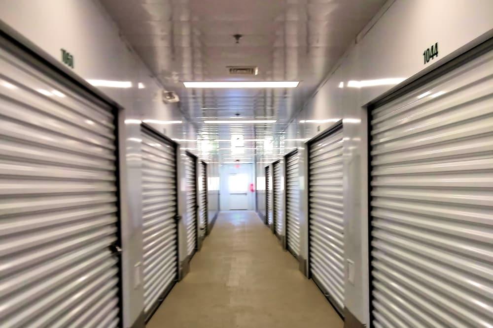 Hallway of indoor units at Prime Storage in Danbury, Connecticut