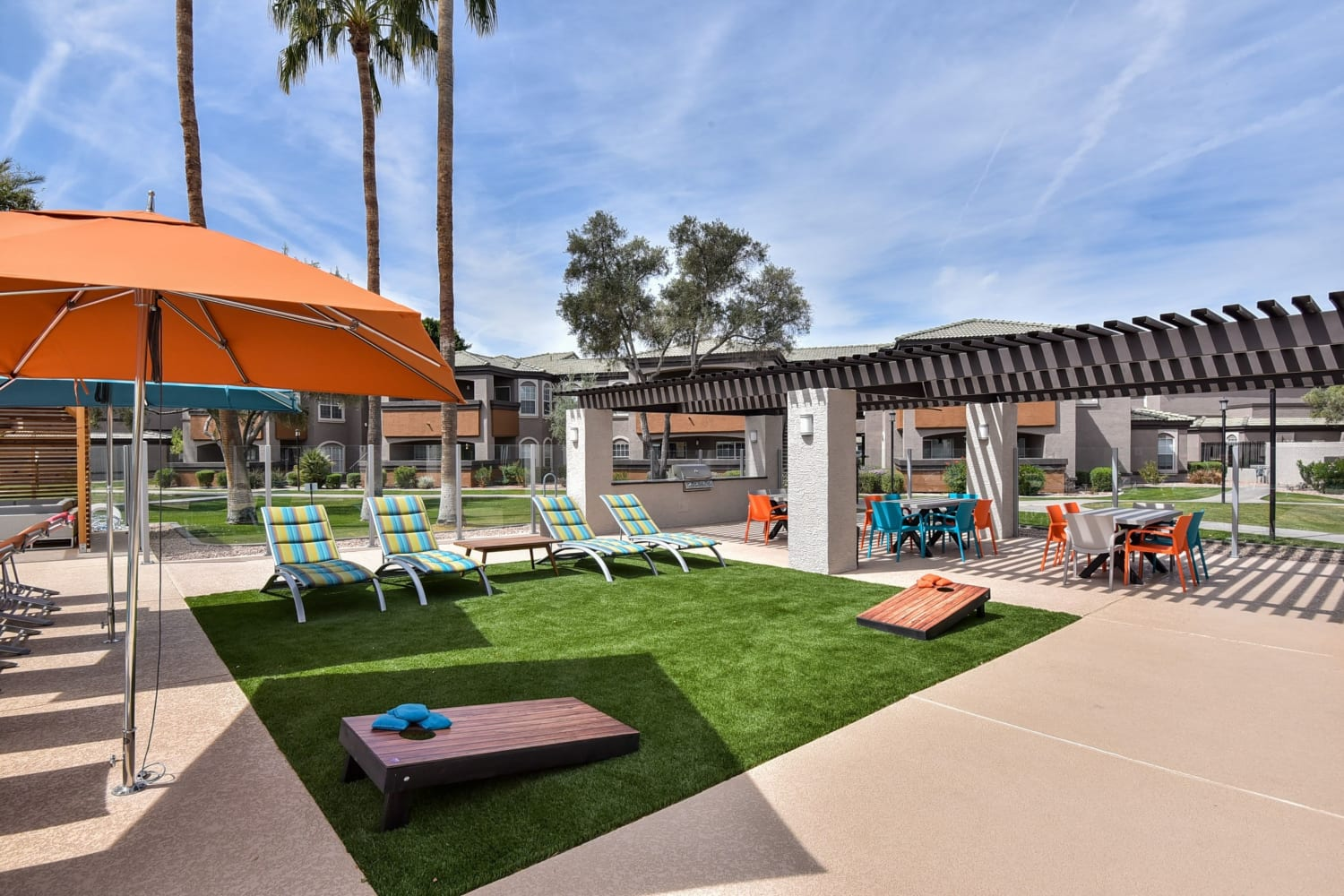Outdoor lawn games at Luxe @ Ocotillo in Chandler, Arizona