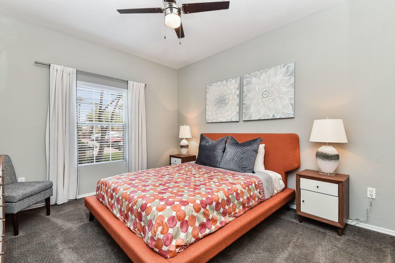Model bedroom at Luxe @ Ocotillo in Chandler, Arizona