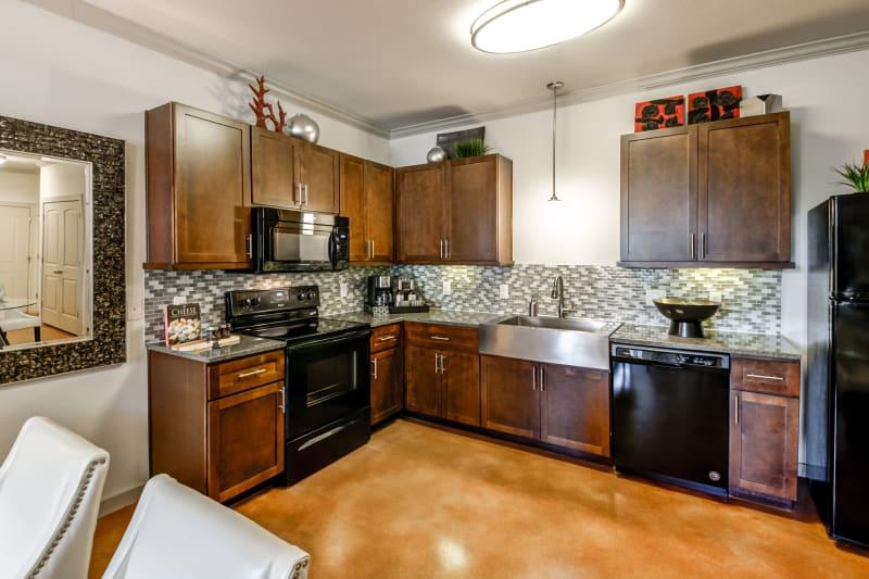 Open concept kitchen at Firewheel Apartments in San Antonio