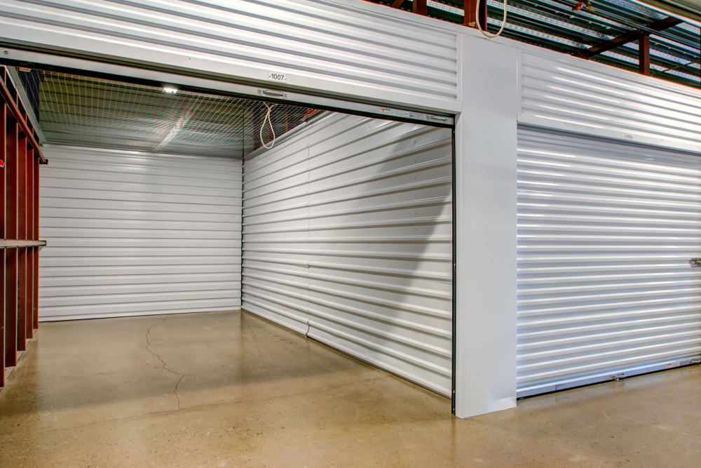 Indoor storage units with roll up door at Metro Self Storage in Wood-Ridge, New Jersey