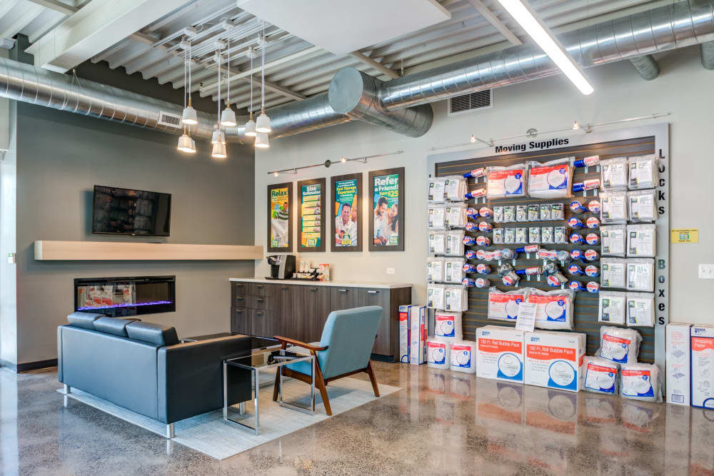 Leasing office offering storage supplies such as boxes and tape at Metro Self Storage in Doylestown