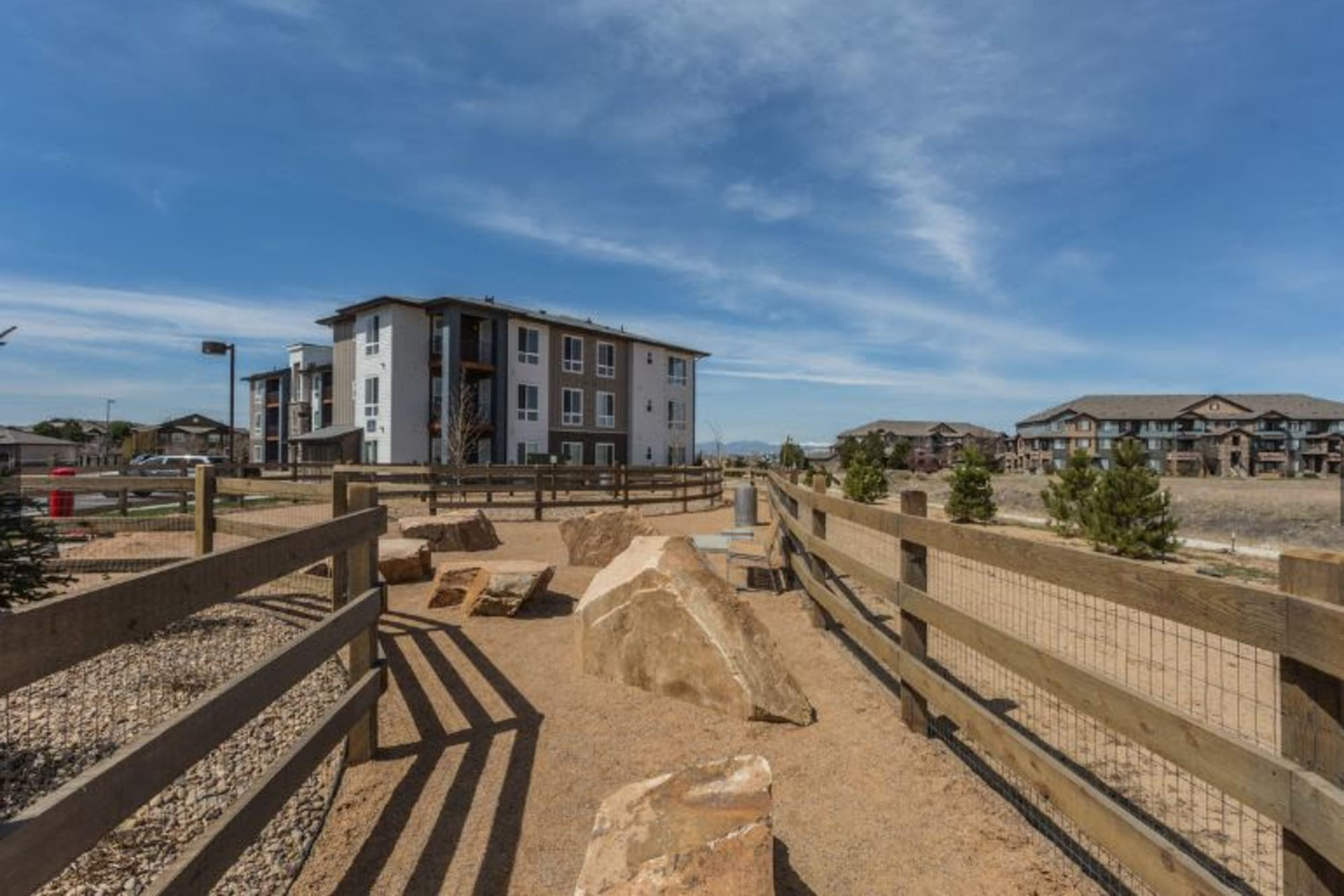 The onsite dog park at Strata Apartments in Denver, Colorado