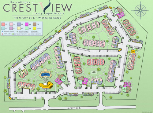Site map for Cottages at Crestview in Wichita, Kansas