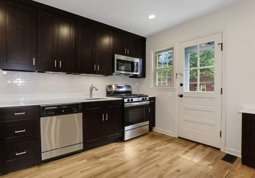 Fully equipped kitchen at Northfield Townhouses in West Orange, New Jersey