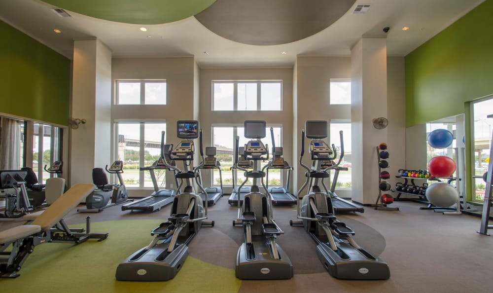 fitness center at GreenVue Apartments