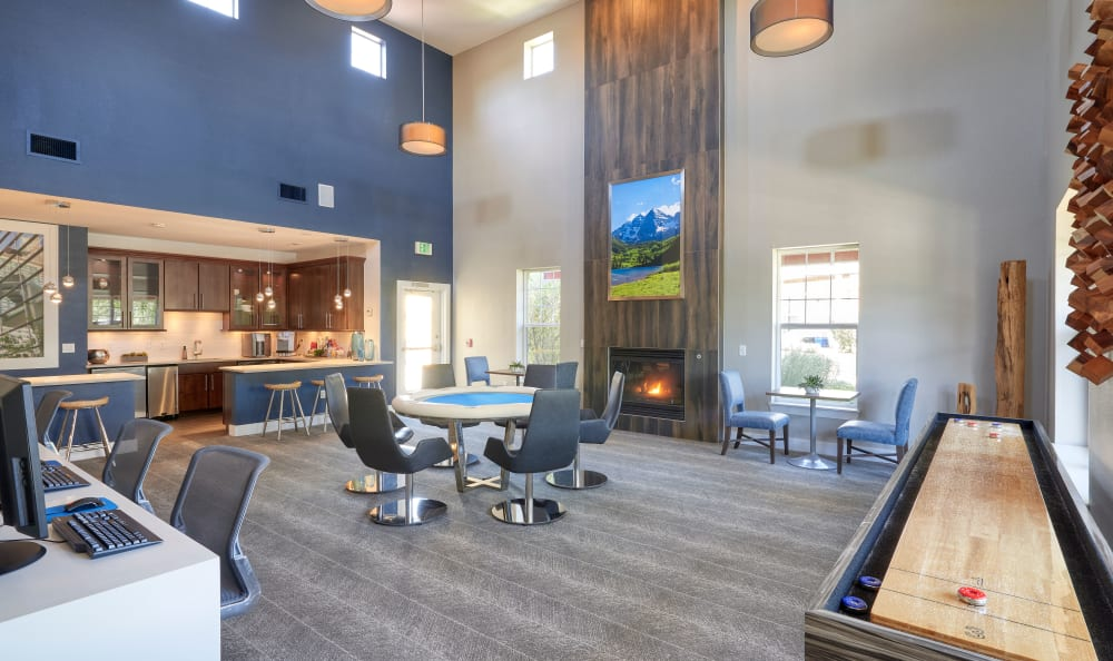 luxury clubhouse with pool table, shuffleboard, kitchen, business center at Bear Valley Park in Denver, Colorado