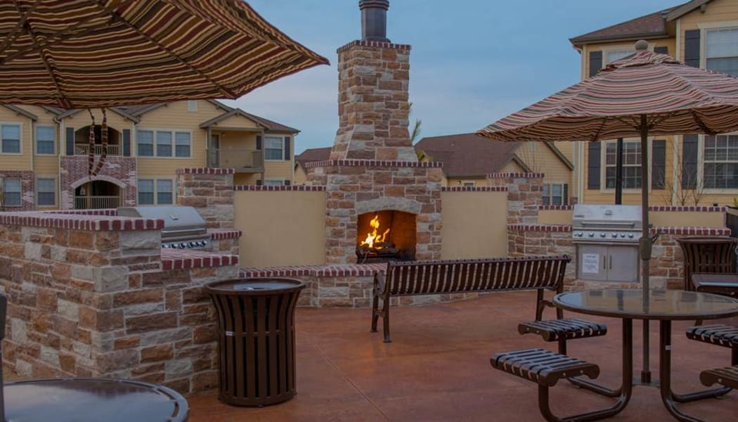 An outdoor fire pit at sunset at Park at Coulter in Amarillo, Texas