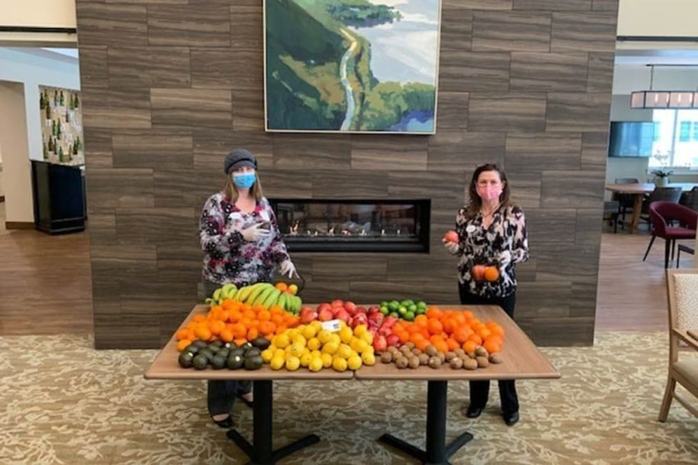 Clearwater staff preparing fruit for delivery