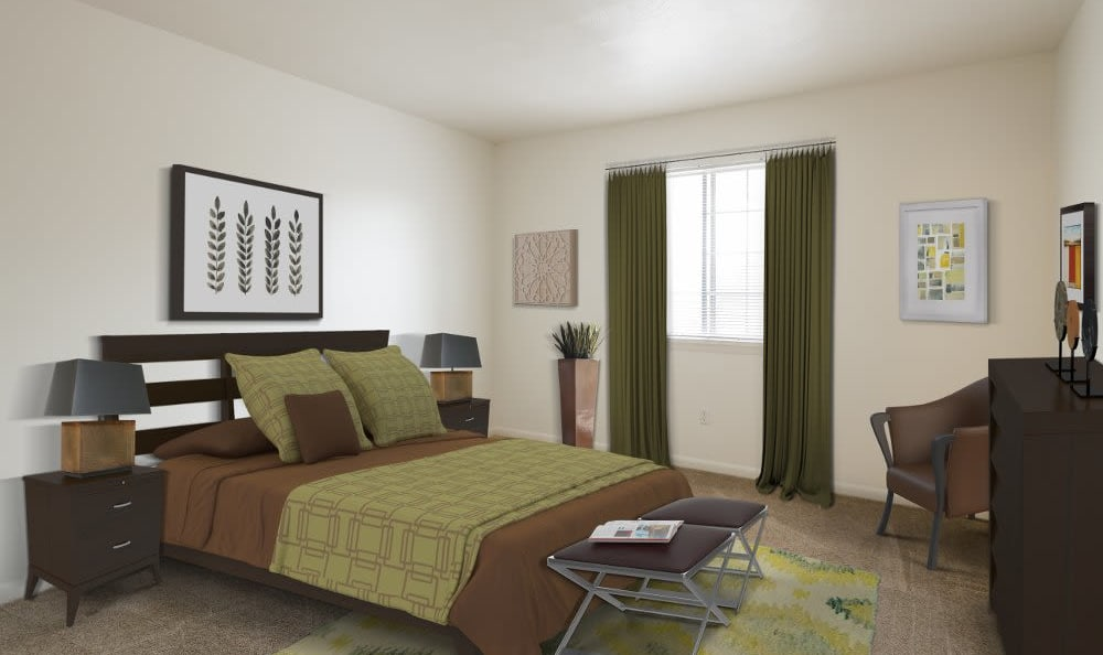 Luxury bedroom at Imperial North Apartments home in Rochester, NY