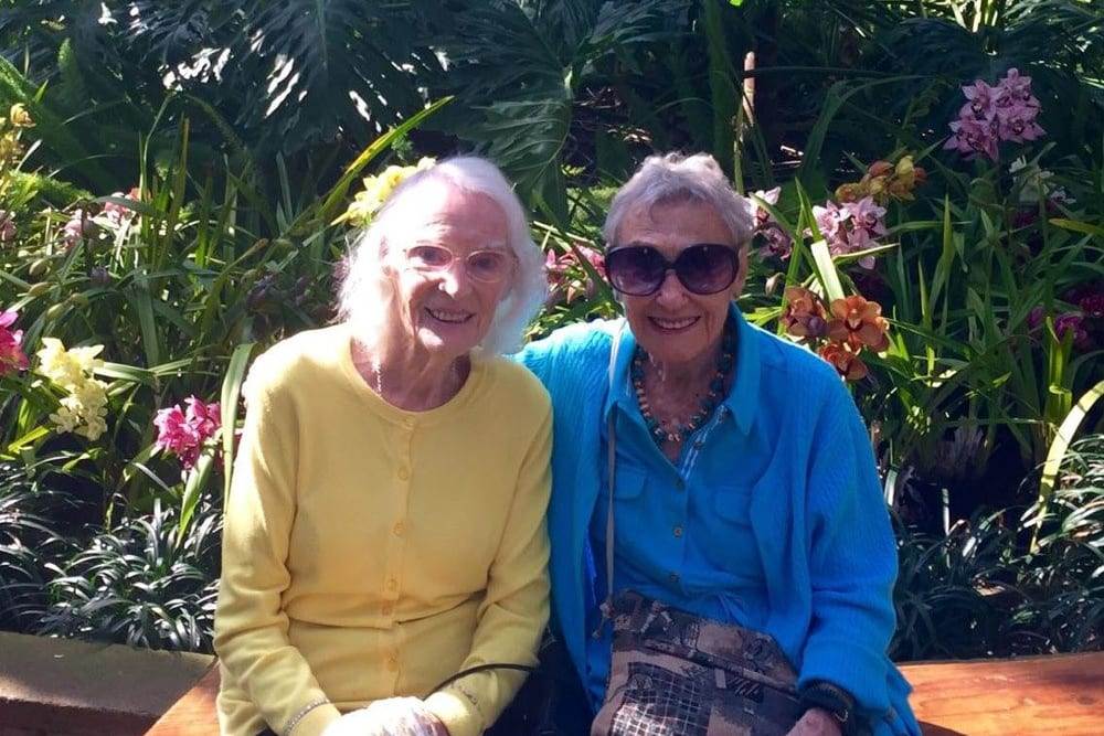A couple residents visiting the botanical gardens near Merrill Gardens at Bankers Hill in San Diego, California.