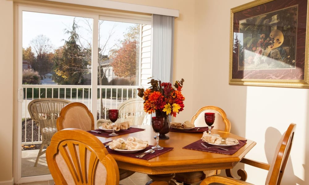 Dining room in an independent living apartment at Governor's Port in Mentor, Ohio