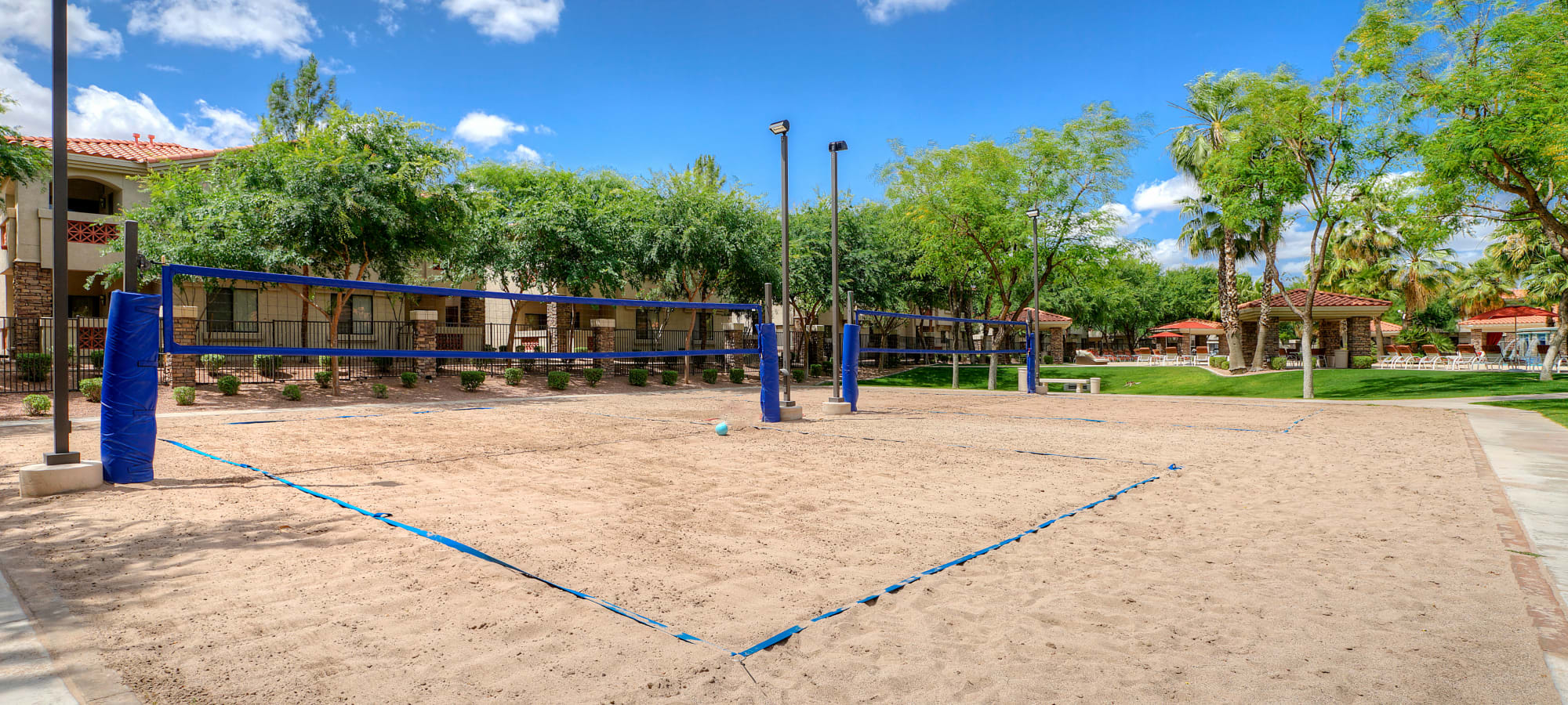 Sand volleyball court at San Palacio in Chandler, Arizona