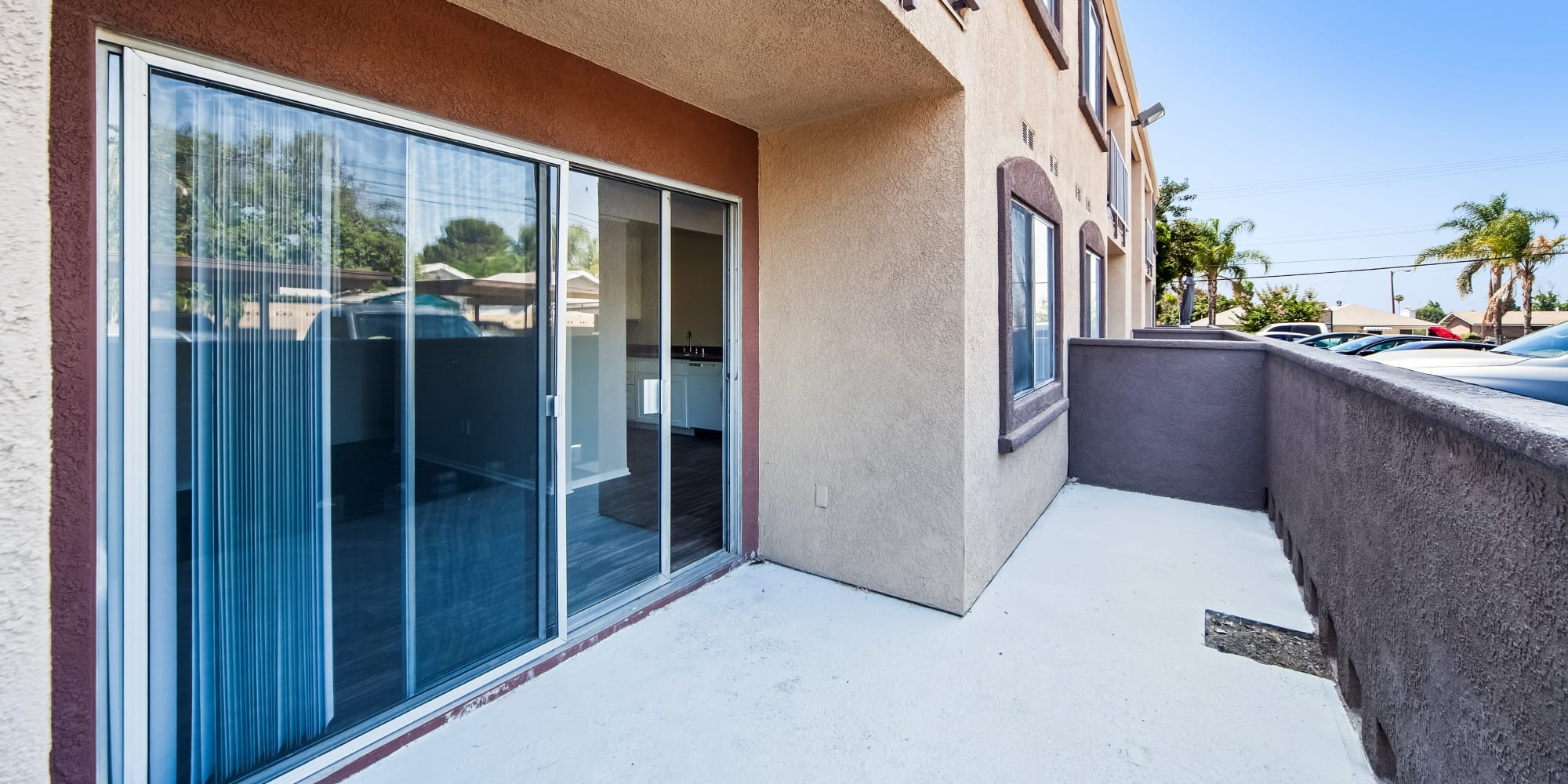 Spacious patio for entertaining friends at West Fifth Apartments in Ontario, California