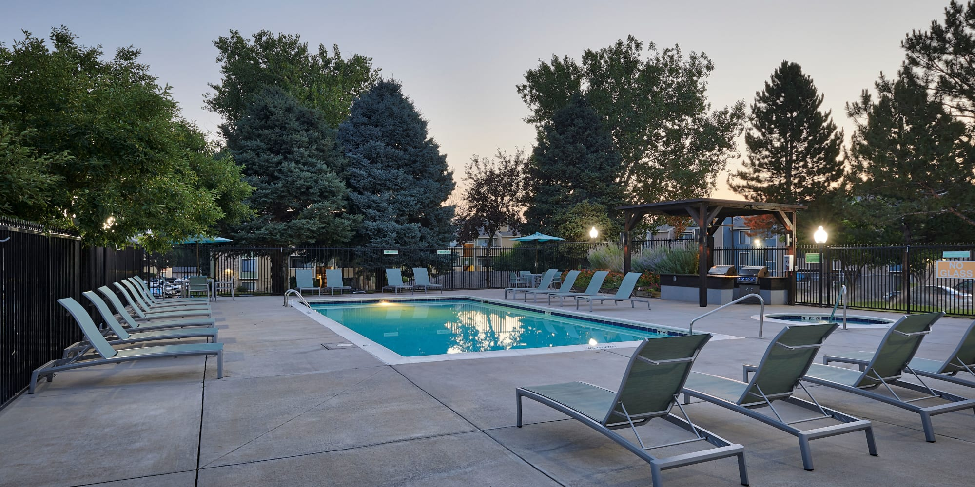 Exterior Pool at sunrise in Denver, CO