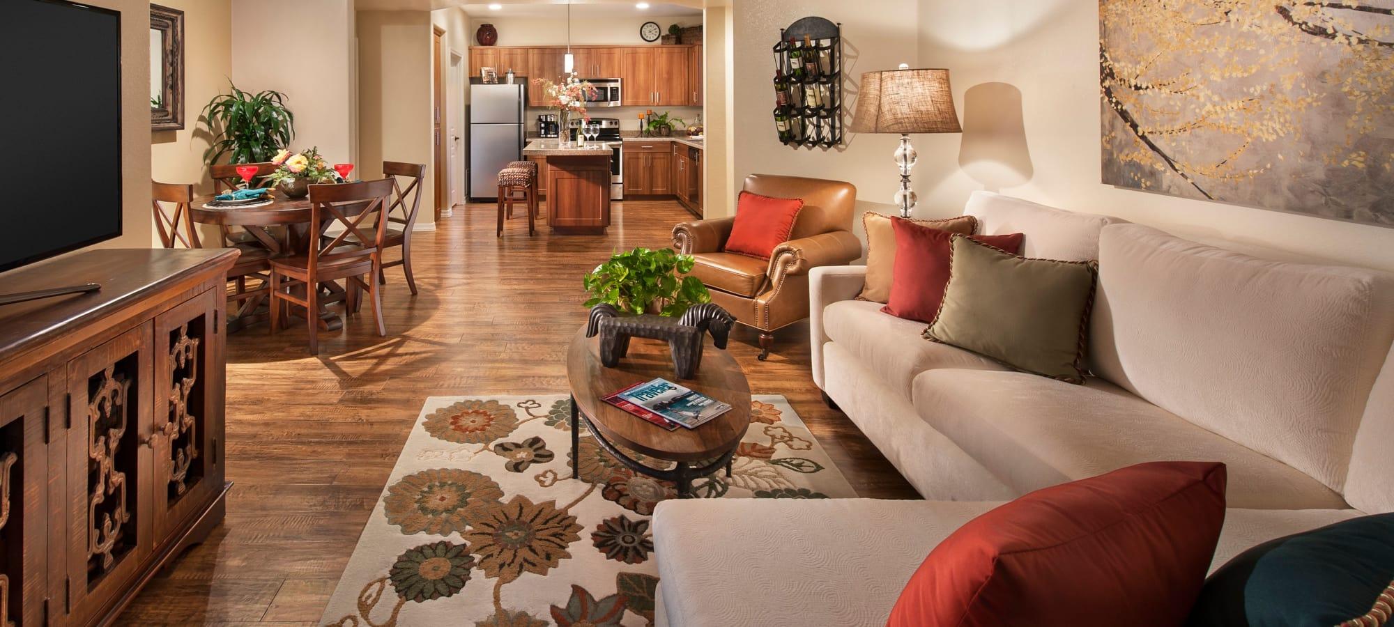Spacious living room in model home at San Capella in Tempe, Arizona