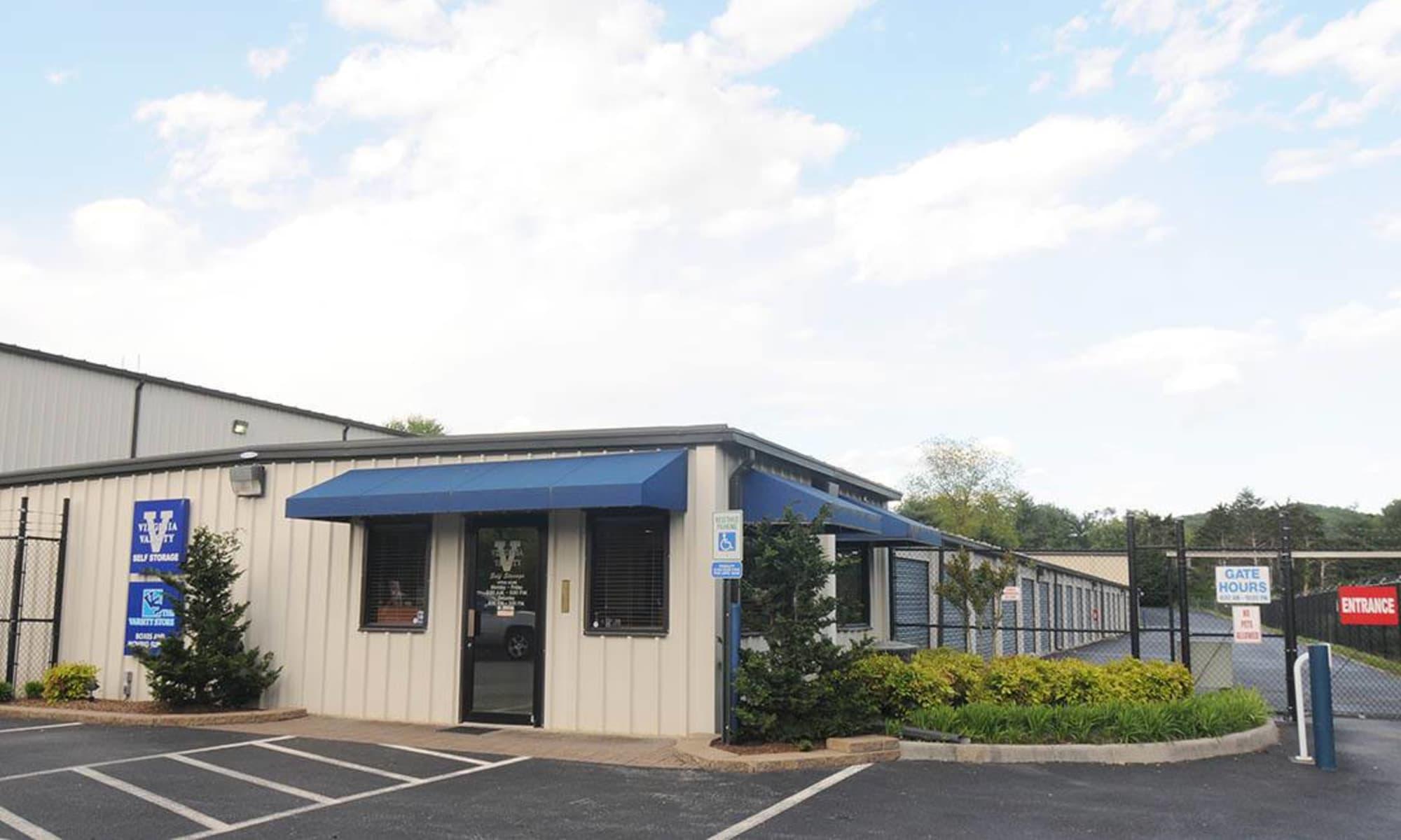 The front office at Virginia Varsity Storage in Roanoke, Virginia