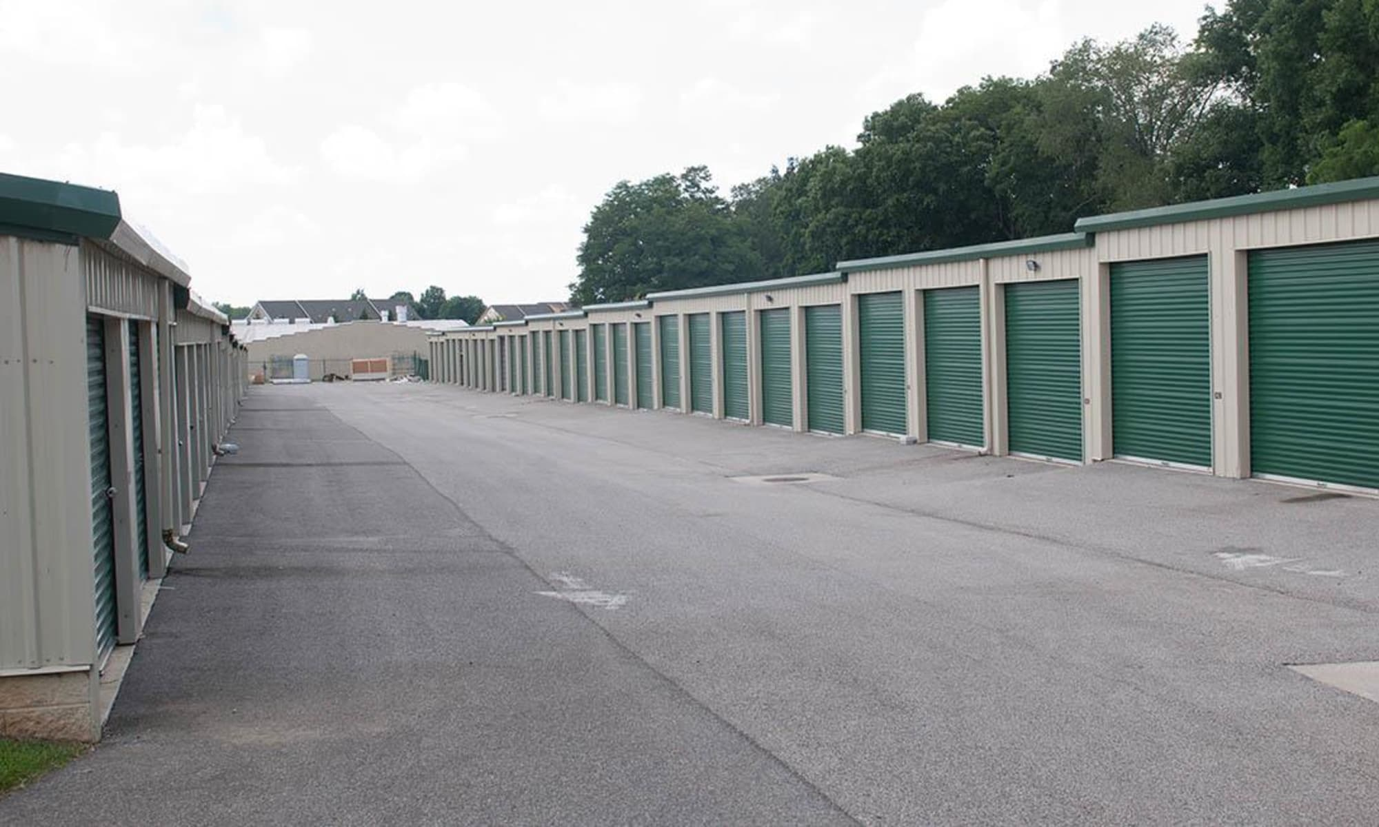 Wide driveways provide convenient access to outdoor units at Virginia Varsity Storage in Christiansburg, Virginia