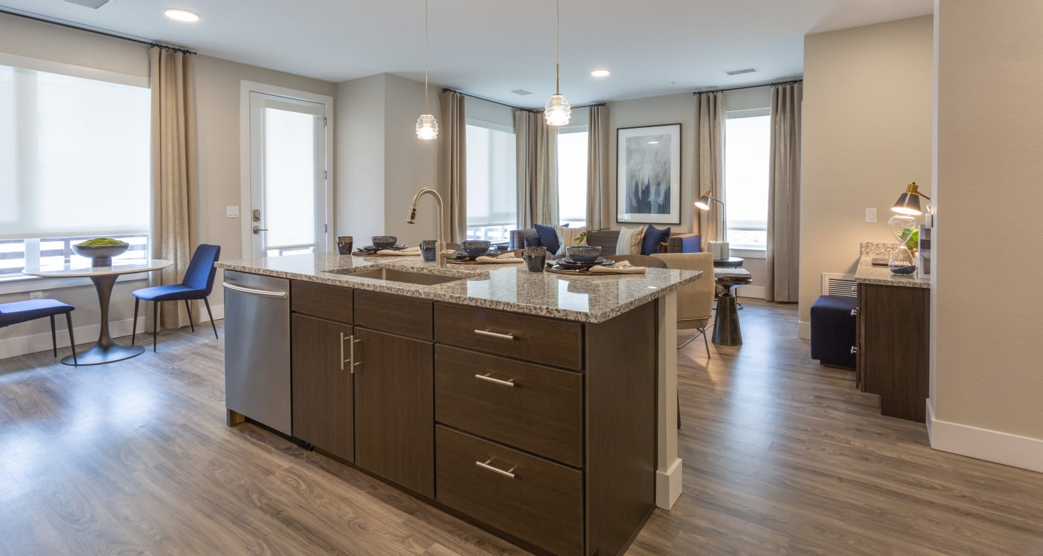 View of the kitchen and living room at FalconView in Colorado Springs, Colorado
