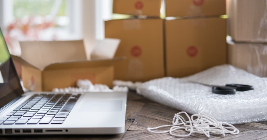 Laptop and packing supplies at USA Storage Centers in Atlanta