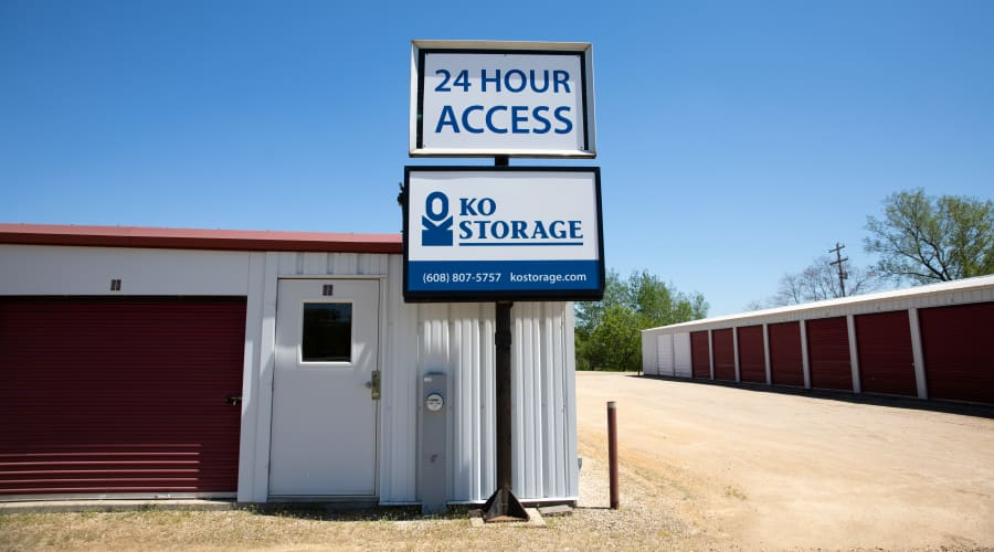 Exterior of outdoor units and signage at KO Storage of Tomah - Superior Ave in Tomah, Wisconsin