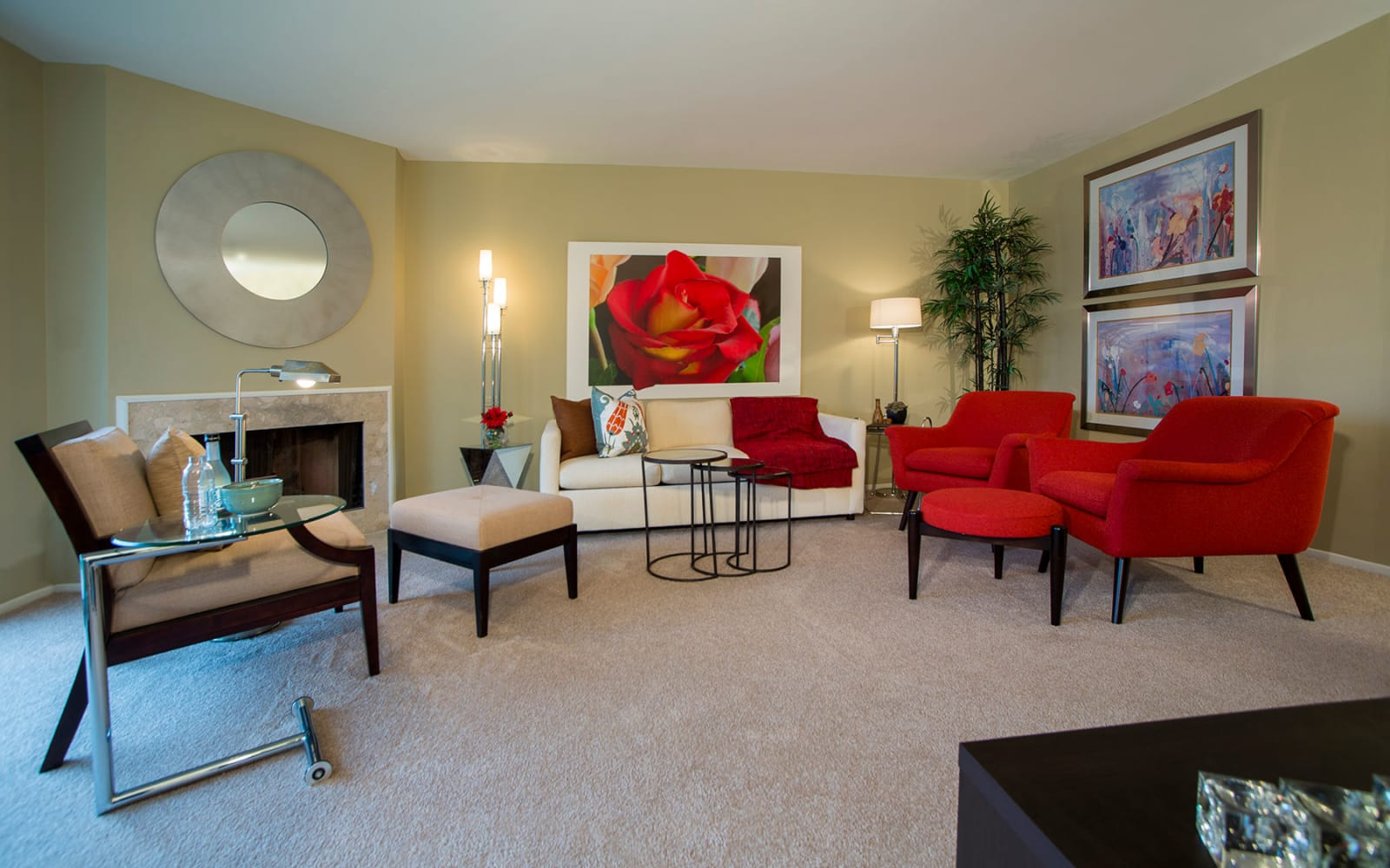 Model living room at Aldingbrooke in West Bloomfield, Michigan