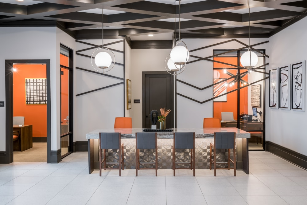 Lobby work area and offices at The ReVe in Garland, Texas