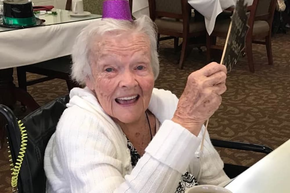 A resident celebrating the new year at Eastlake Terrace in Elkhart, Indiana