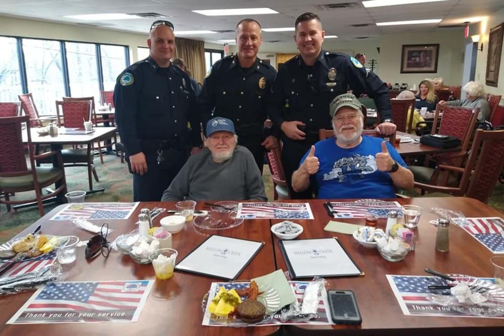 Police foundation members visit at Willow Creek Senior Living in Elizabethtown, Kentucky