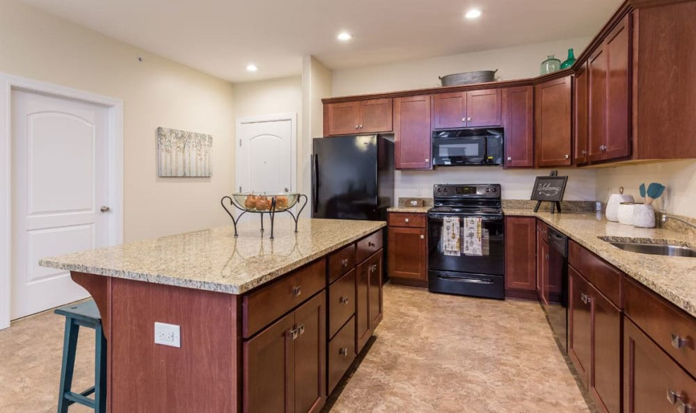 Modern kitchen at Gateway Landing on the Canal home in Rochester, NY