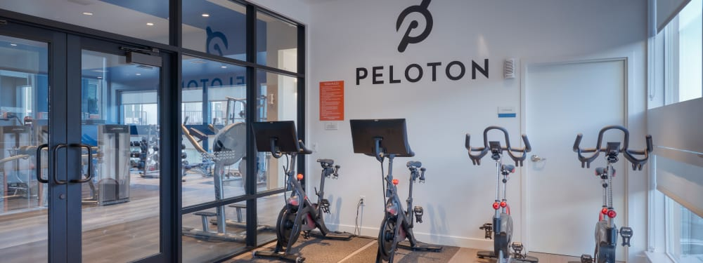 Stationary bikes in the fitness center at Elevate in Englewood, Colorado