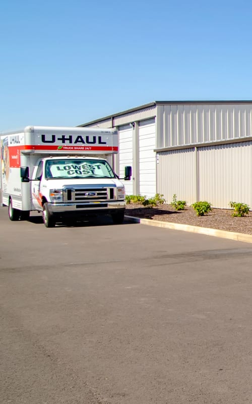 A U-Haul truck at Oregon RV & Storage in Hubbard, Oregon
