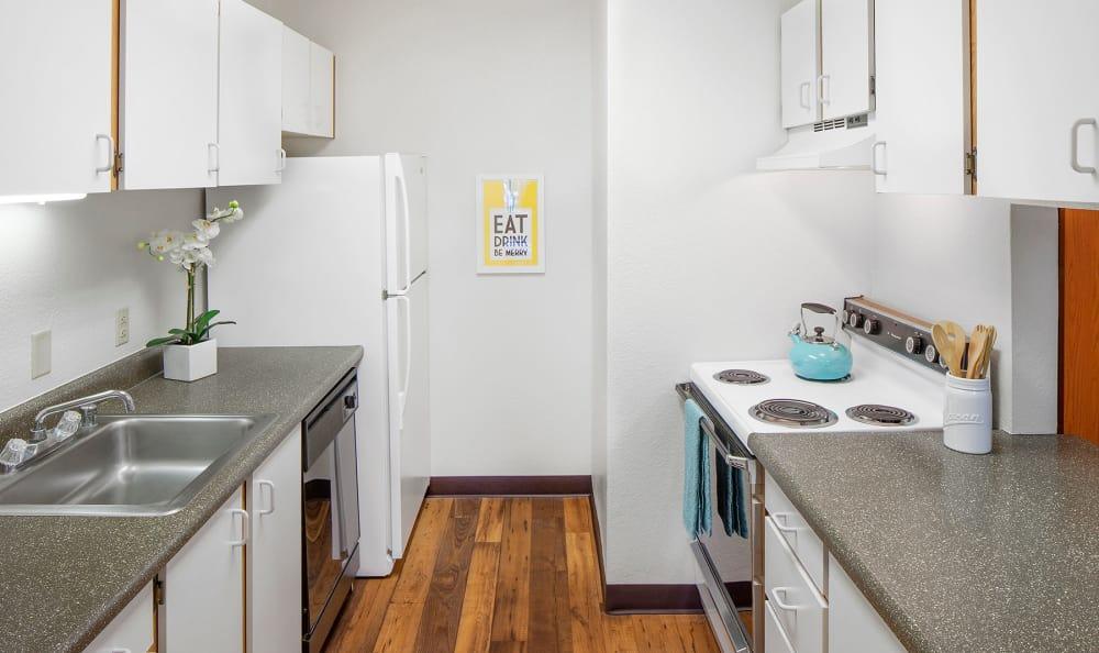 Remodeled kitchen at Bridge Creek Apartments in Vancouver, Washington