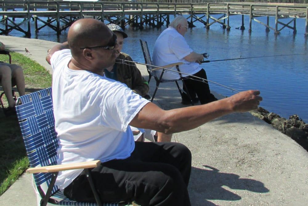 Residents fishing near Spring Oaks in Brooksville, Florida