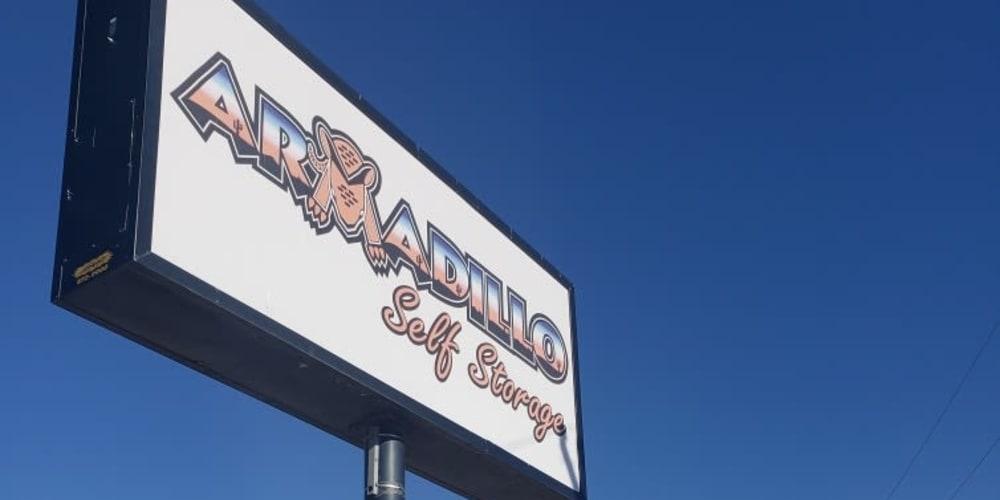 Sign for Armadillo Self Storage in El Paso, Texas