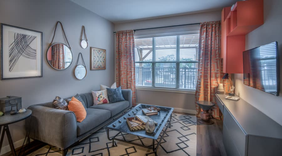 Living room in model home at The Chase at Overlook Ridge in Malden, Massachusetts