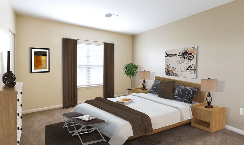 Spacious living room at Ethan Pointe Apartments in Rochester