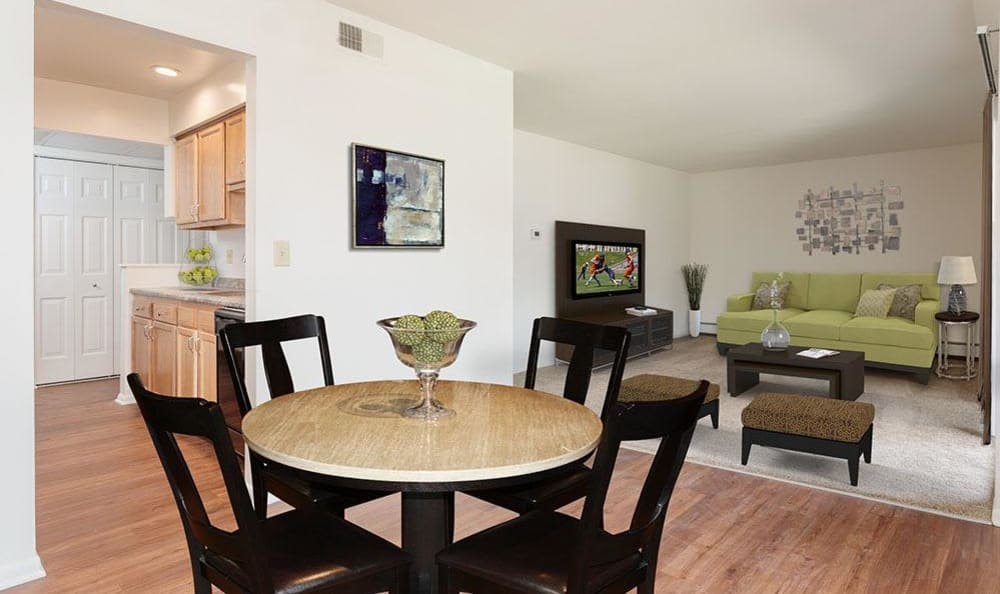 Spacious dining room at Steeplechase Apartments home in Camillus, NY