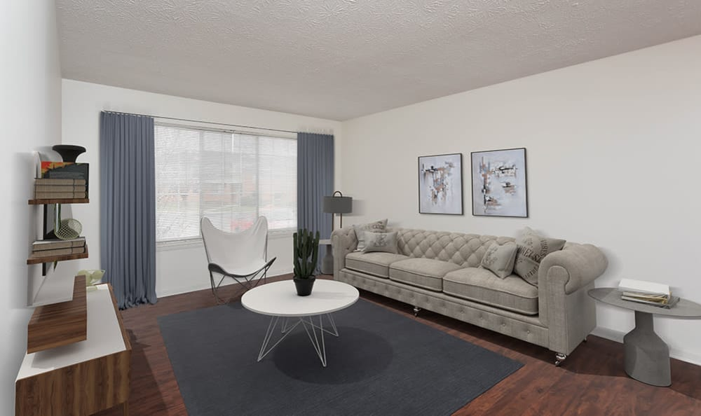 Cozy Living Room at Waverlywood Apartments & Townhomes in Webster, New York