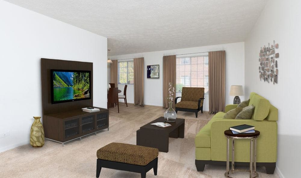 Modern Living room at Waverlywood Apartments & Townhomes in Webster, New York