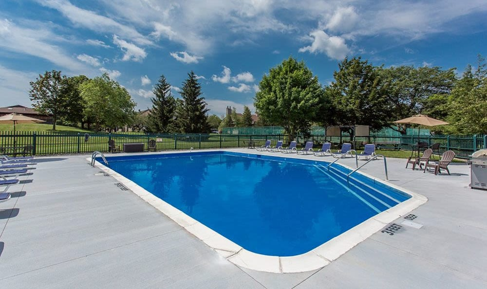Refreshing pool at Steeplechase Apartments in Camillus