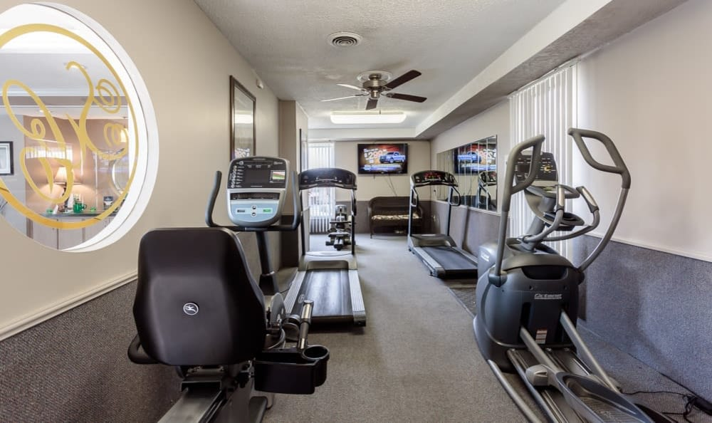 Stay healthy in our fitness center at Steeplechase Apartments in Camillus