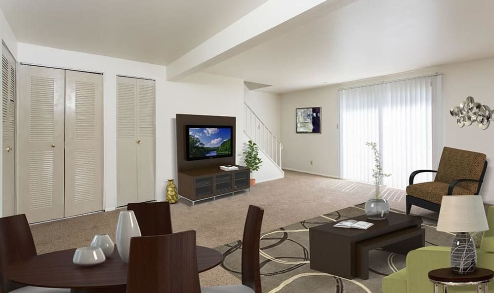 Spacious living room at High Acres Apartments and Townhomes in Syracuse, NY