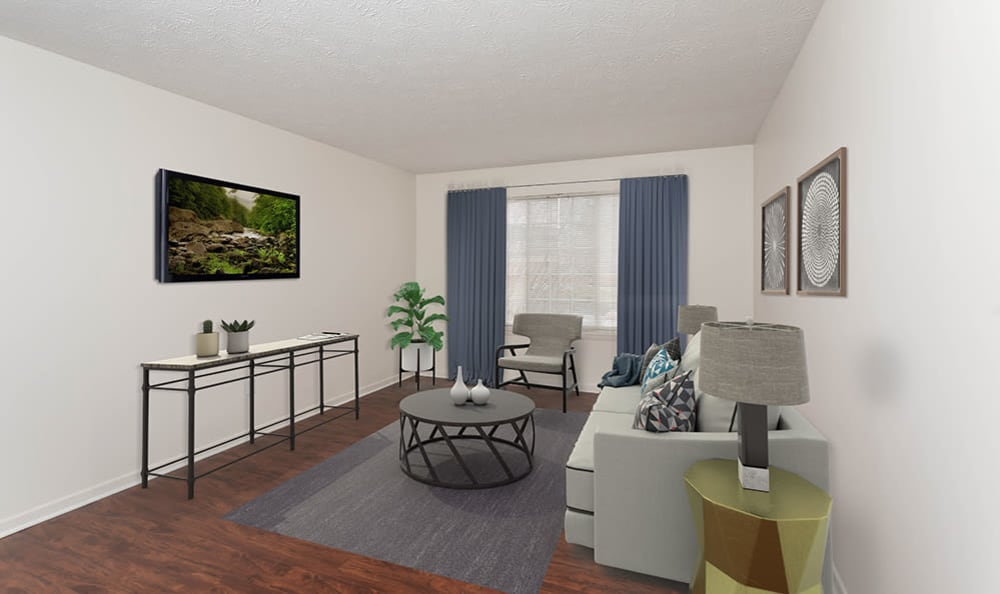 Spacious Living Room at Waverlywood Apartments and Townhomes home in Webster, NY