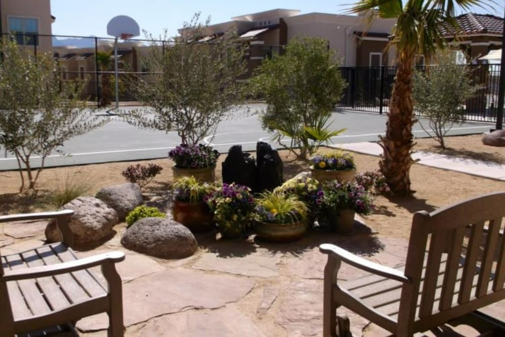 Seating area outside of Sonoma Palms in Las Cruces, New Mexico